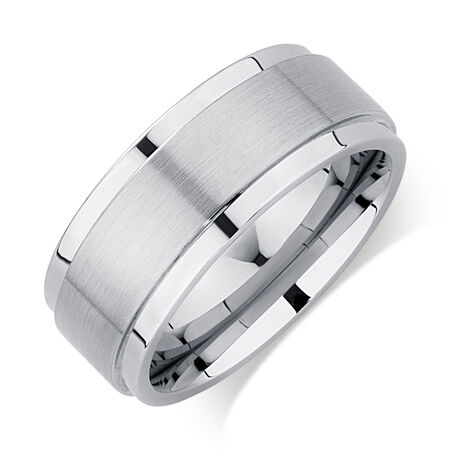 9mm Men's Ring in White Tungsten