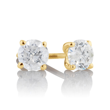 Stud Earrings with 1 Carat TW of Diamonds in 14ct Yellow Gold