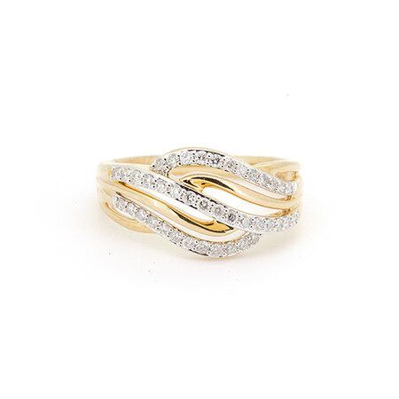 Swirl Ring with 0.39 Carat TW of Diamonds in 10ct Yellow Gold