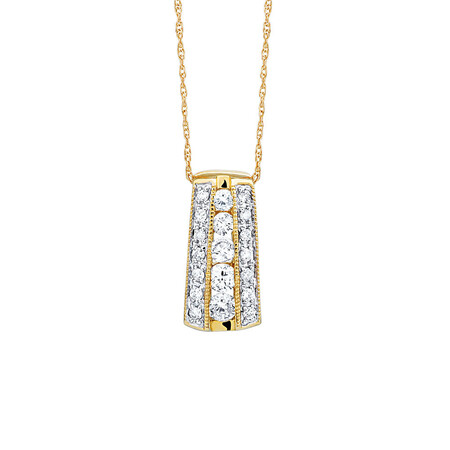 Pendant with 1/2 Carat TW of Diamonds in 10ct Yellow Gold