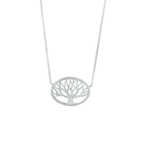 Tree of Life Pendant with Created White Sapphire in Sterling Silver