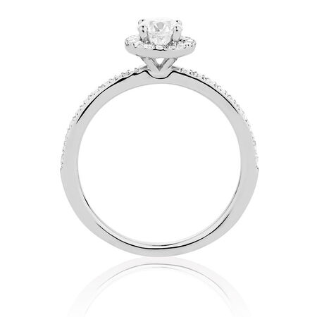 Evermore Colourless Engagement Ring with 0.70 Carat TW of Diamonds in 14ct White Gold