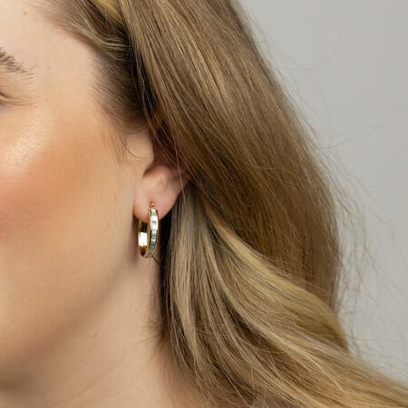 Glitter Hoop Earrings in 10ct Yellow Gold