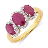Online Exclusive – Three Stone Ring with Ruby and 0.20 Carat TW of Diamonds in 10ct Yellow Gold