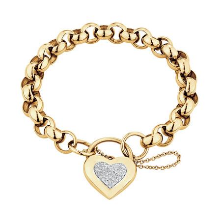 Belcher Bracelet with Diamond Set Heart Padlock in 10ct Yellow Gold