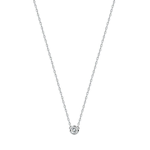 Round Pendant Neclace with Diamonds in Sterling Silver