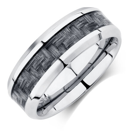Men's Ring in Grey Carbon Fibre & Stainless Steel