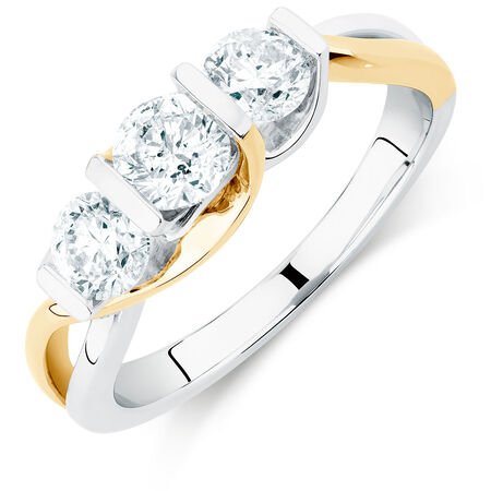 Three Stone Engagement Ring with 1 Carat TW of Diamonds in 14ct White & Yellow Gold