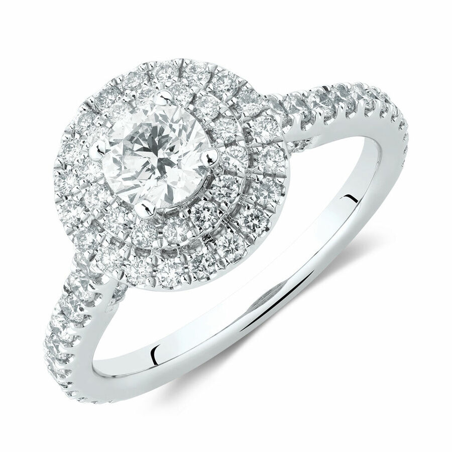 Sir Michael Hill Designer Double Halo Engagement Ring with 1 1/5 Carat TW of Diamonds in 14ct White & Rose Gold