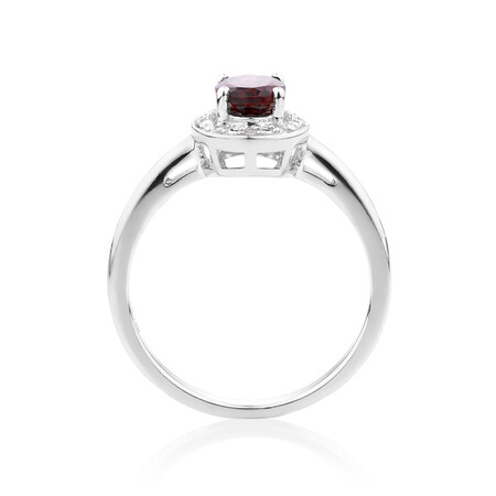 Halo Ring with Garnet & Diamonds in Sterling Silver
