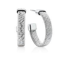 Patterned Open Hoop Earrings in Stainless Steel & Sterling Silver