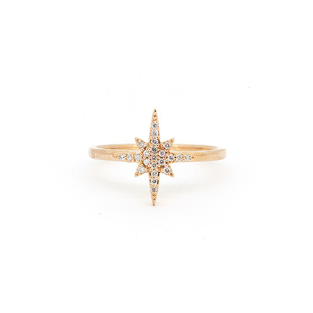 Star Ring with Diamonds in 10ct Rose Gold