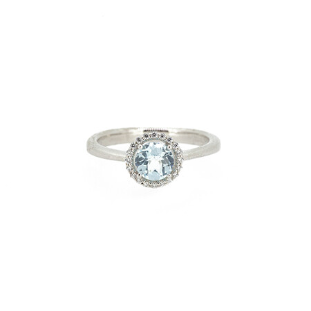 Halo Ring Created Topaz and Cubic Zirconia in Sterling Silver