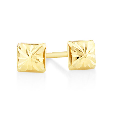 Square Stud Earrings in 10ct Yellow Gold