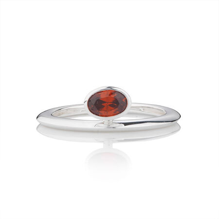 Online Exclusive - Geometric Stacker Ring with Red Cubic Zirconia in Sterling Silver