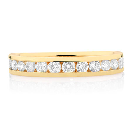 Wedding Band with 3/4 Carat TW of Diamonds in 14ct Yellow Gold