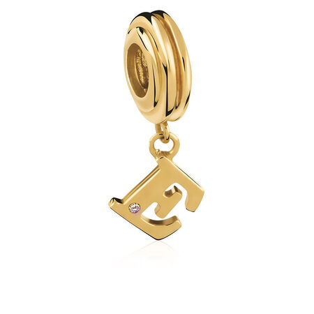 Diamond Set & 10ct Yellow Gold 'E' Charm