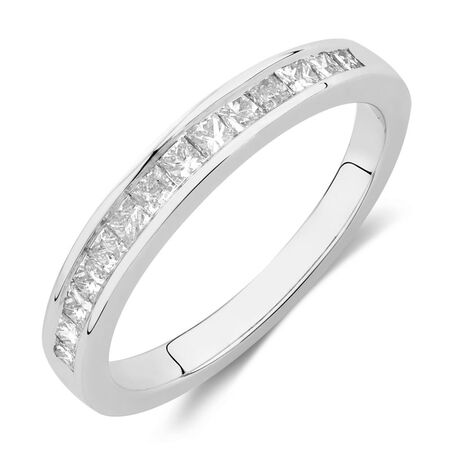 Wedding Band with 0.41 Carat TW of Diamonds in 14ct White Gold | Tuggl