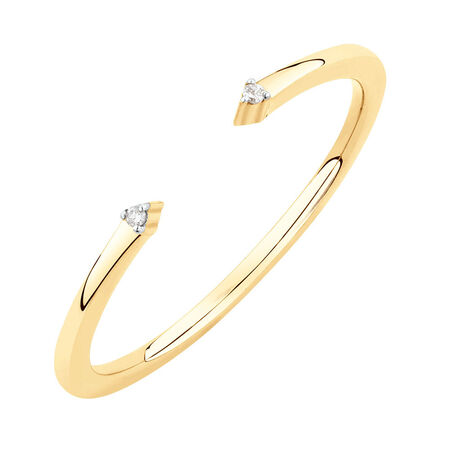 Diamond Set Open Stacker Ring in 10ct Yellow Gold