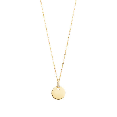 Circle Pendant with Diamonds in 10ct Yellow Gold