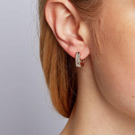 Hoop Earrings with 1/3 Carat TW of Diamonds in 10ct Yellow Gold