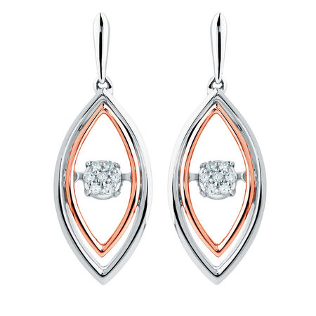 Online Exclusive - Everlight Earrings with Diamonds in Sterling Silver & 10ct Rose Gold