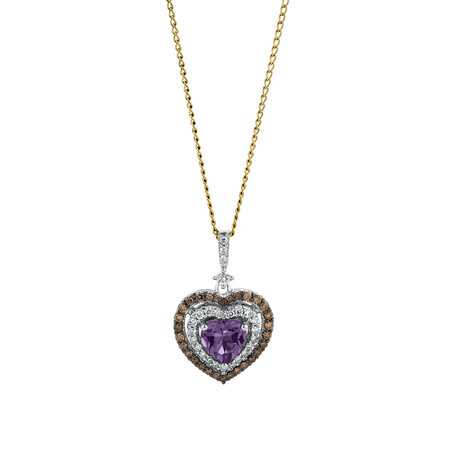 Heart Pendant with 0.33 Carat TW of Brown Diamonds & Amethyst in 14ct White Gold