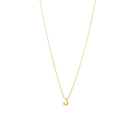 """""""J"""" Initial Necklace in 10ct Yellow Gold"""