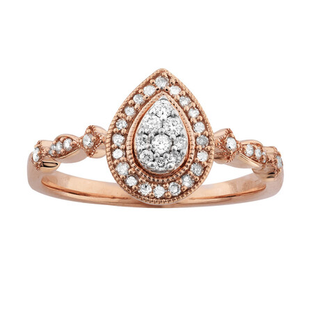 Ring with 0.20 Carat TW of Diamonds in 10ct Rose Gold