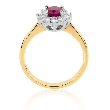Ring with Ruby & 1/2 Carat TW of Diamonds in 18ct Yellow & White Gold