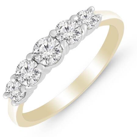 Five Stone Ring with 0.75 Carat TW of Diamonds in 14ct Yellow & White Gold