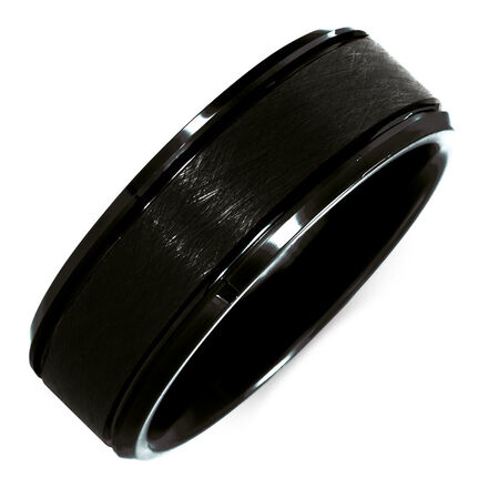 8mm Men's Ring in Black Tungsten