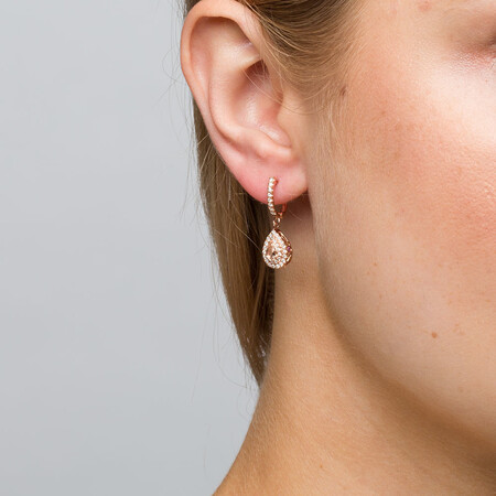 Michael Hill Designer Fashion Drop Earrings with Morganite & 0.38 Carat TW of Diamonds in 10ct Rose Gold