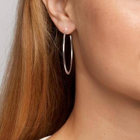 Knife Edge Hoop Earrings in Sterling Silver