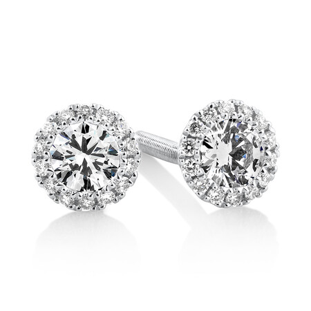 Sir Michael Hill Designer Halo Earrings with 0.52 Carat TW of Diamonds in 18ct White Gold