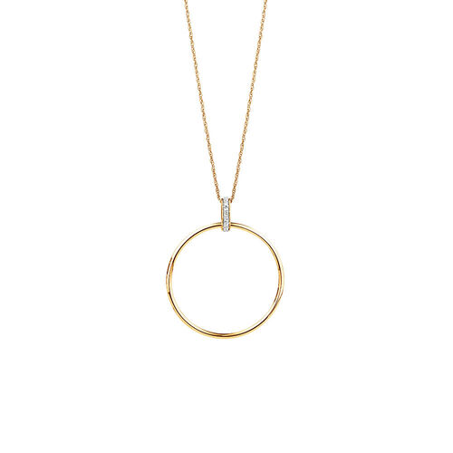 Circle Drop Pendant With Diamonds In 10ct Yellow Gold