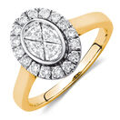 Engagement Ring with 3/4 Carat TW of Diamonds in 14ct Yellow & White Gold