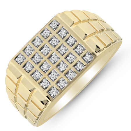 Five Row Ring with 0.25 Carat TW of Diamonds in 10ct Yellow Gold