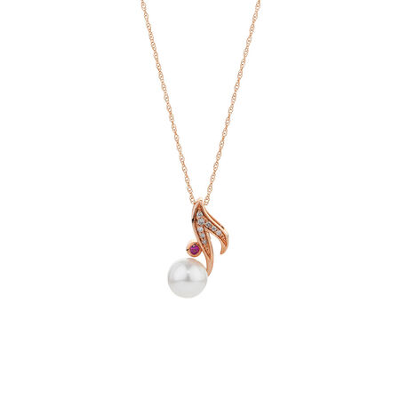 Online Exclusive - Pendant with Diamonds, Cultured Freshwater Pearl & Pink Sapphire in 10ct Rose Gold