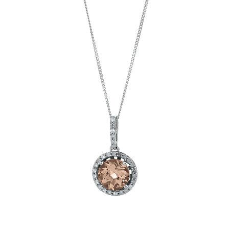 Pendant with Morganite & 0.22 Carat TW of Diamonds in 10ct White Gold