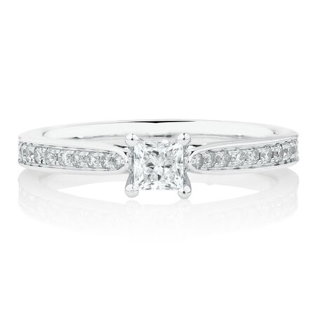 Solitaire Engagement Ring With 1/2 Carat TW of Diamonds In 14ct White Gold