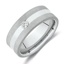 Diamond Set Ring in White Tungsten