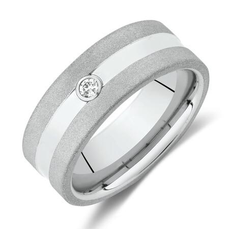 Diamond Set Ring in White Tungsten