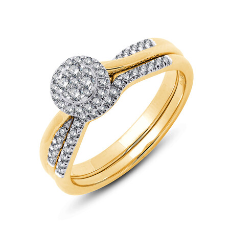 Bridal Set with 0.30 Carat TW of Diamonds in 10ct Yellow & White Gold