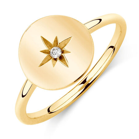 Star Mini Signet Ring With Diamond In 10ct Yellow Gold