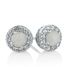 Stud Earrings with Created Opal & White Sapphire in Sterling Silver