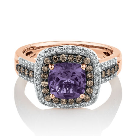 Ring with 0.50 Carat TW of Brown & White Diamonds & Amethyst in 10ct Rose Gold