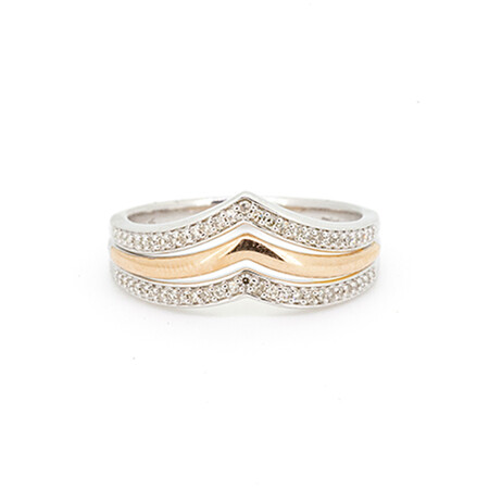 V Ring with 0.15 Carat TW of Diamonds in 10ct White & Rose Gold