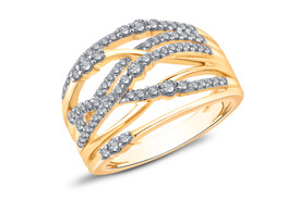 Crossover Ring with 0.50 Carat TW of Diamonds in 10ct Yellow Gold