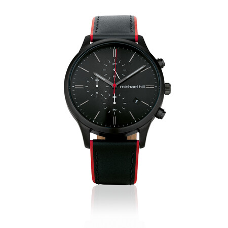 Men's Chronograph Watch in Black Tone Stainless Steel & Leather